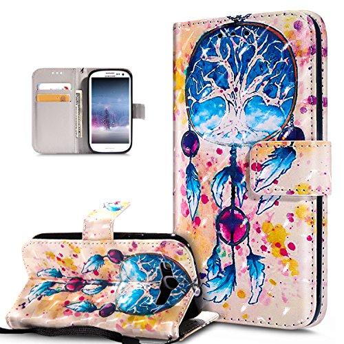Kompatibel mit Galaxy S3 Hülle,Galaxy S3 Neo Hülle,3D Bunte Gemalte Schmetterlings PU Lederhülle Flip Ständer Wallet Hülle Tasche Tasche Schutzhülle für Galaxy S3/S3 Neo,Bunte Feder Campanula