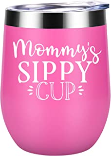 Gifts for Mom - Mommy's Sippy Cup - Funny Mom Gifts from Daughter, Son - Best Mom Birthday Gifts - Christmas Gift Ideas for Mom Friend, Wife, New Mom, Pregnant Mom, Mom to be - Coolife Wine Tumbler