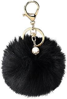 Real Raccoon Fur Pom Pom Ball Keychain Bowknot Studded Diamond Handbag Key Ring
