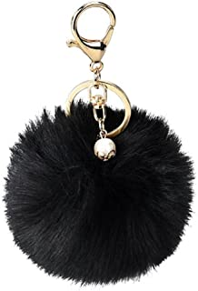 DZT1968 Solid Color Imitate Rabbit Fur Ball Keychain Handbag Key Ring Car Key