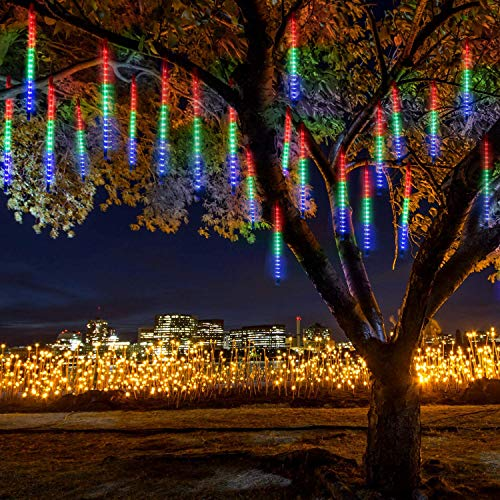 JLtech - Luces de lluvia de meteoros, resistentes al agua, luces de lluvia con 8 tubos de 30 cm, 224 LED, luces de Navidad para decoración de jardín, fiesta de fiesta de boda (multicolor)