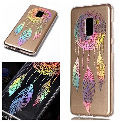 E-Mandala Samsung Galaxy A8 2018 Plus Hülle Ultra Dünn Slim Durchsichtig Silikon Schutzhülle Handy Tasche Etui Handyhülle Transparent mit Muster - Traumfänger Dreamcatcher Campanula