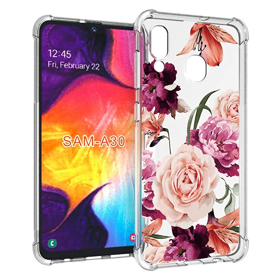 luolnh Compatible with Galaxy A30 Case,Galaxy A30 Case with Flower,Slim Shockproof Clear Floral Pattern Soft Flexible TPU Back Cover for Samsung Galaxy A30(Purple)