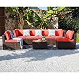 OC Orange-Casual Outdoor Sectional Sofa Wicker Furniture Set with Turquoise Seat Cushions, Glass Coffee Table Single Sofa Armchair, 7-Piece
