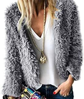 c2b30a98cc17 Zyyfly Women Faux Fur Coat Open Front Fleece Fuzzy Cardigan Sweater