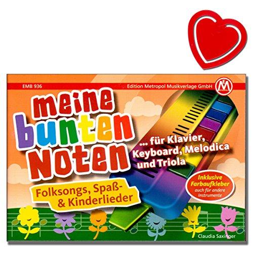 Mijn kleurrijke noten - Songbook voor piano, keyboard, Melodica en Triola - populaire kinderliedjes met kleurrijke hartvormige muziekklem