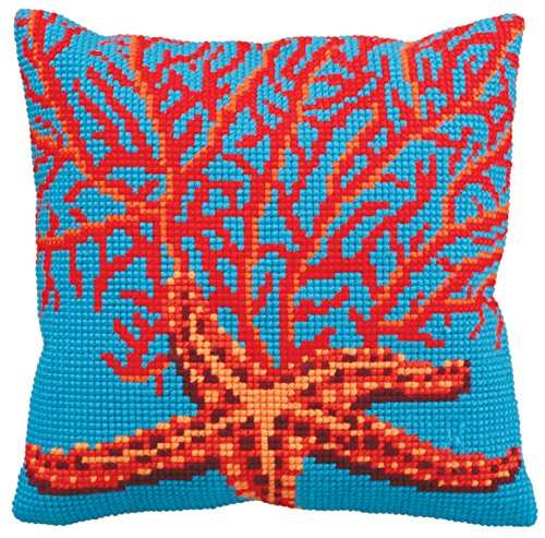 Collection d'Art 40 x 40 cm Rojo de Estrella de mar Kit para Coser cojín de Punto de Cruz