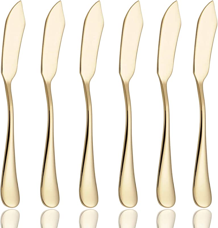 6 Piece Butter Knife 6 Inch Stainless Steel Cheese Spreader Knives Set Table Silverware Dishwasher Safe Packs Of 6 Gold