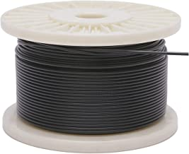 Derrun Vinyl Coated Stainless Steel 304 Black Wire Rope -for Lighting Guide Wire & Crafts- 1/16 Wire Rope ,Coated Outer Diameter is 3/32, 400' Length, 480 lbs Breaking Strength
