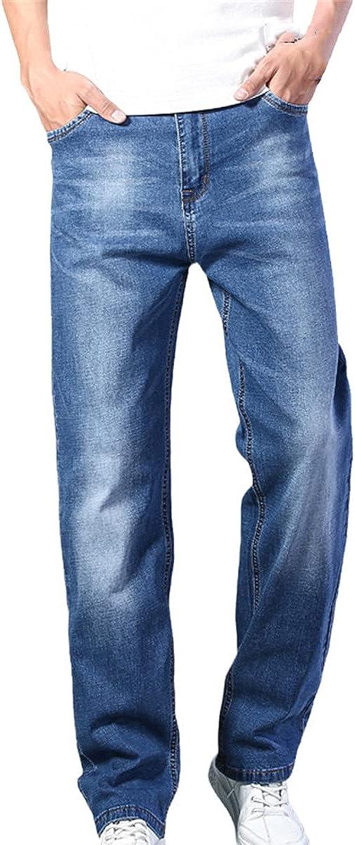 Spring/Summer Classic Lightweight Straight Loose Men's Denim Jeans Dark Blue Thin Jeans