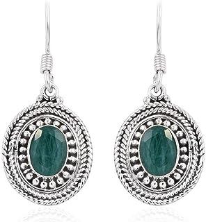 925 pendientes de plata de ley para mujeres, pendientes colgantes, pendientes de esmeralda ovalados, pendientes de gota Plata Aretes, Sterling Silver Earrings for Women