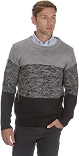Mens Tri-Marl Sweater Jumper Crew Neck Knitwear Winter Warm Thick URBAN REVIVAL