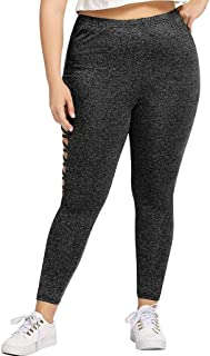 Hyioammb Womens Oversized High Waist Elastic Leggings Hollow Out Sport Fitness Pants Jeans Trousers