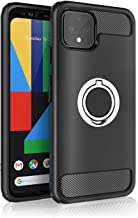 Google Pixel 4 Case - New 2019 Upgraded with Metal Stand Ring - Cable Protector - Pixel 4 Heavy Duty Protective Phone Case - Google Pixel 4 Rugged TPU Cover - Shockproof Defender Case (Black)