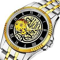 時計、機械式時計 メンズウォッチクラシックスタイルのメカニカルウォッチスケルトンステンレススチールタイムレスデザインメカニ (ゴールド)-175. ビスミッラーイスラム書道イエローとブラック