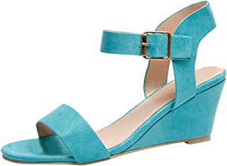 Women's Summer Ankle Strap Buckle Low Wedge Platform Heel Sandals Fashion Design Pump Shoes (US:7, Blue)