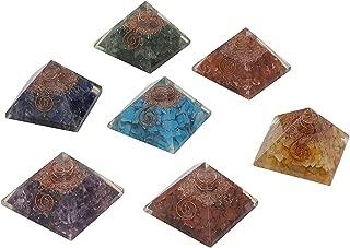 Crocon 7 pcs Seven Chakra Orgone Pyramid Set with Crystal Point for Crystal Energy Generator Chakra Balancing Reiki Healing Spiritual Meditation Decor EMF Protection Gemstone Size: 2-2.5 Inch