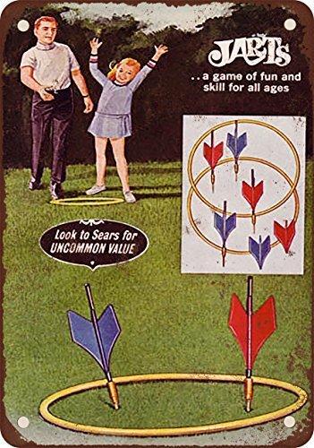 YFULL Jarts Lawn Darts Game Vintage Decor Metal Tin Sign 8X12 Inches