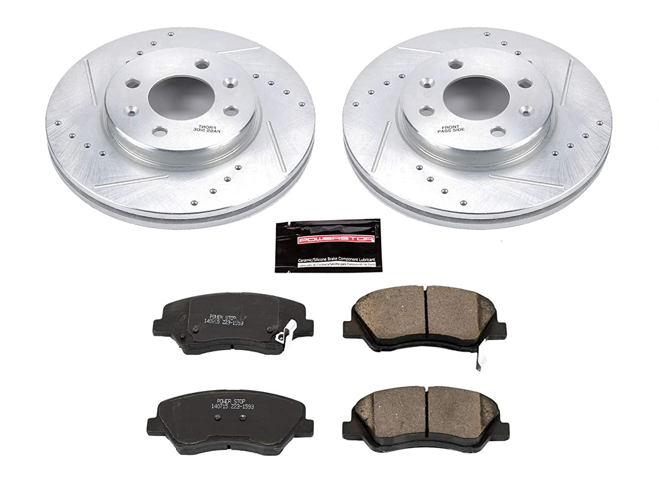 Power Stop K6508 Front Z23 Evolution Brake Kit with Drilled/Slotted Rotors and Ceramic Brake Pads