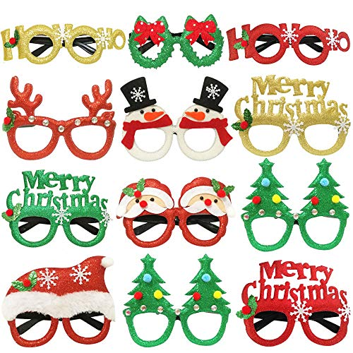 JAYKIDS Christmas Glasses Party Favors Christmas Tree Hanging Ornaments Decorations Photo Booth Props Xmas Party Decorations Eyeglasses Frame for Christmas Holiday Party Supplies, 12pcs