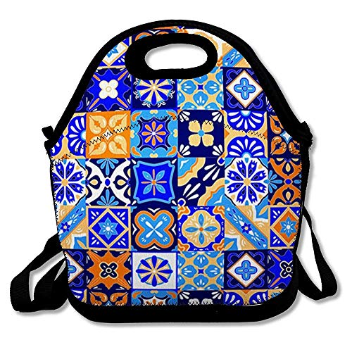 Reusable Lunch Bag for Men Women Ceramic Pottery Mexican Talavera Tiles Pattern Abstract Culture Blue Mexico Geo Floral Mosaic Design Insulated Lunch Tote for Travel Office School