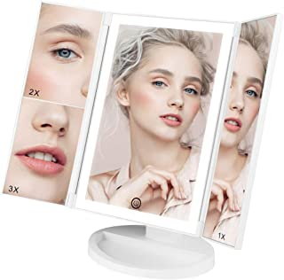 Lighted Makeup Mirror, Trifold Vanity Mirror with Lights 38 LED, 3X/2X/1X Magnification, Touch Screen Dimming 180° Rotation Tabletop Mirror, Portable Dual Power Cosmetic Bathroom Light Up Mirror
