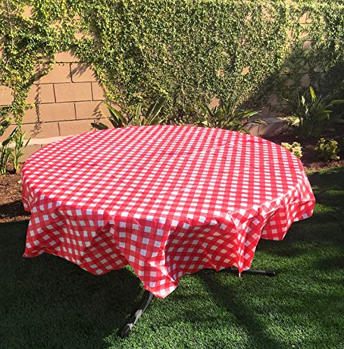 Oojami Pack of 4 Plastic Red and White Checkered Tablecloths - 4 Pack - Picnic Table Covers (78