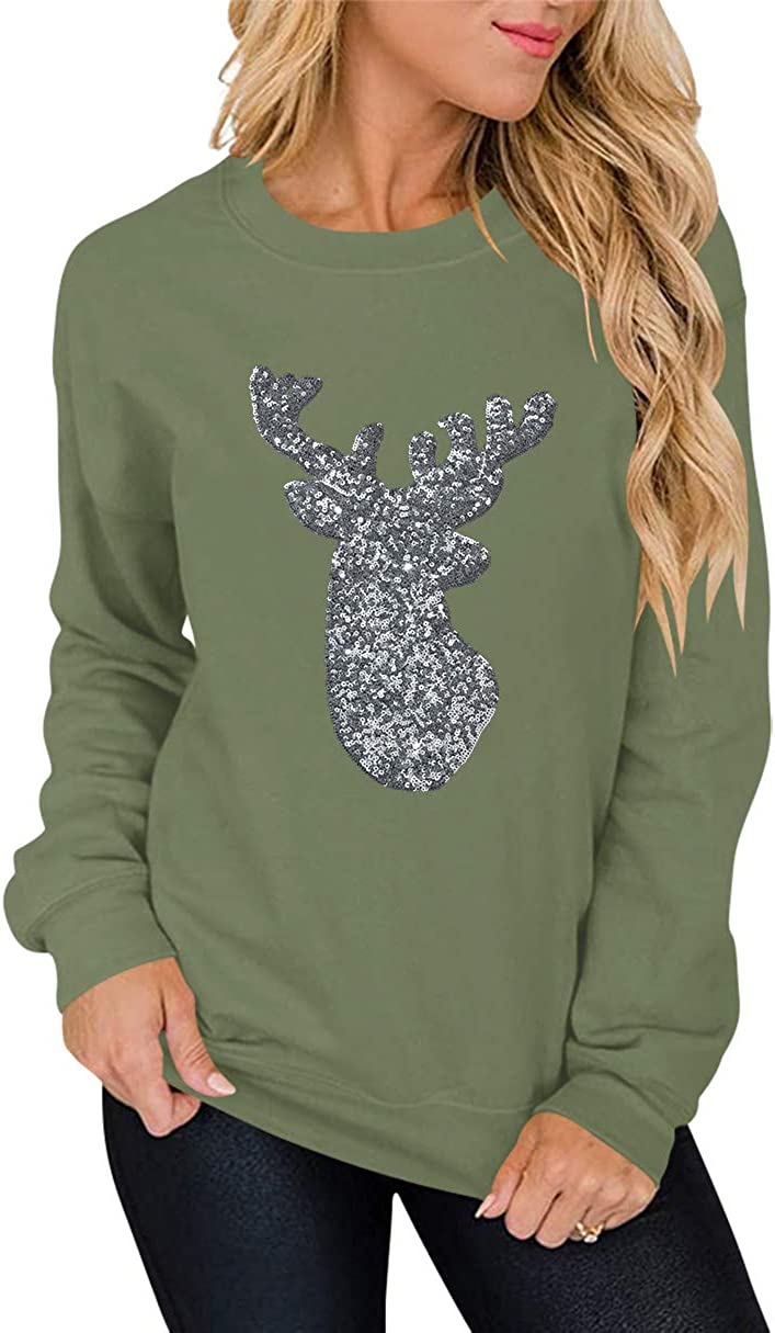 ANTSZONE Women's Christmas Holiday Sequin Shirts - Casual Long Sleeve Crewneck Pullover Sweatshirt Tops