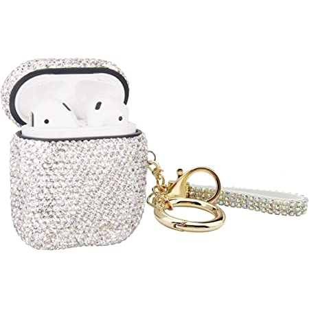 MOLOVA Bling Airpods Case ,Shining Diamond Rhinestone AirPods Case Shock Proof Cover Compatiable with Apple AirPods Wireless Charging Case with Keychain(White)