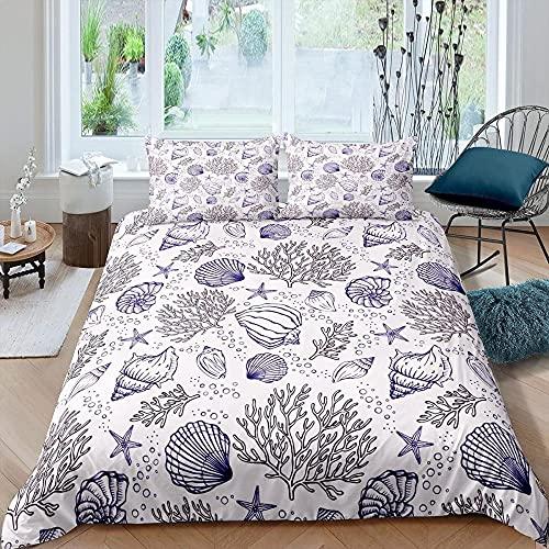 Sängkläder 200 x 200 cm 3 delar för allergiker lämpliga sängkläder set med 1 påslakan 135 x 200 & örngott 80 x 80 vitt skal – med dragkedja