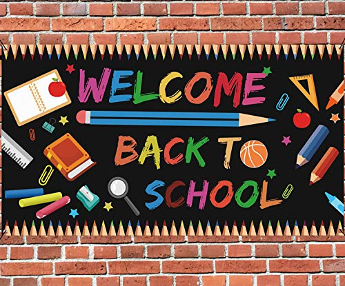 Welcome Back to School Backdrop Banner - Back to School Party Supplies 2020 First/100th Day of School Photo Booth Prop Wall Decorations Indoor/Outdoor(70' X 40')