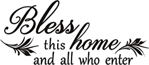 Bless This Home and All Who Enter-Vinyl Wall Decal for Entryway Living Room Christian Wall Art Decor Home Blessing (BlessThisHomeAndAllWhoEnter)