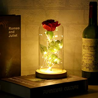Tendlife Eternal Rose Flower, lámpara LED de Vidrio Rosa, decoración, Fiesta, Navidad, Aniversario, Luces navideñas de San Valentín