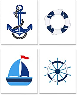 Nautical Nursery Decor, Set of Four 8 x10 inch Unframed Art Prints - Great for Baby Room Wall Decor