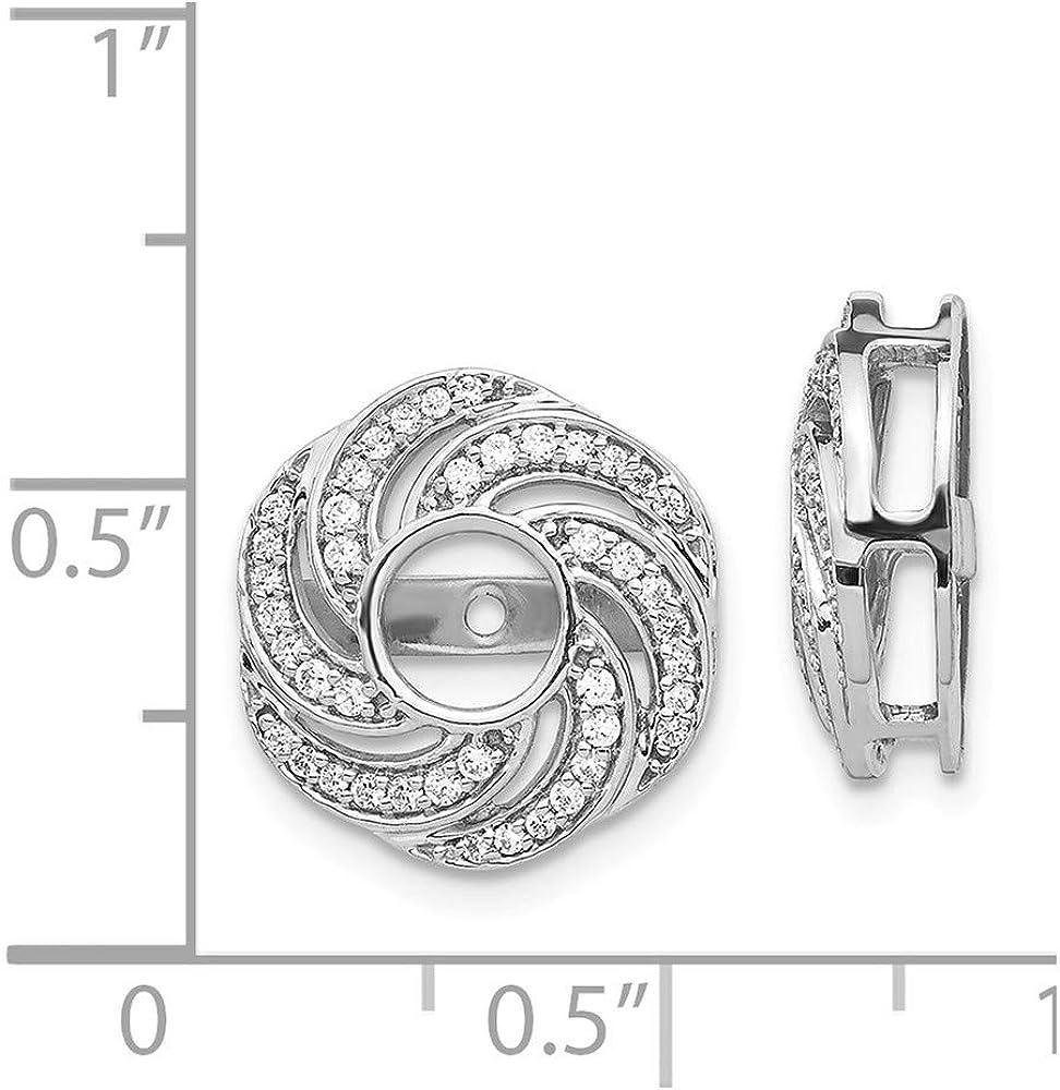 FB Jewels 14k White Gold Swirl Diamond Jacket Earrings (0.55