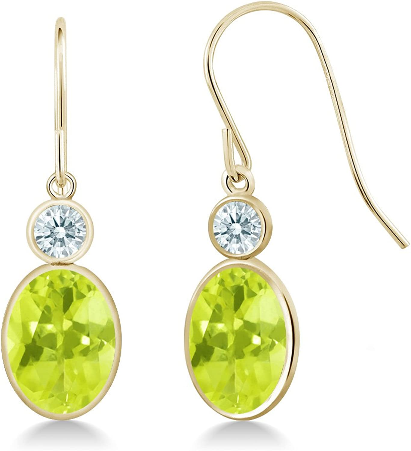 2.42 Ct Yellow 14K Yellow gold Earrings Made With Swarovski Zirconia