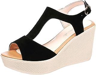 6b29af19b51 K-Youth Sandalias Mujer Verano Peep Toe Zapatos Cuña Tacon Alto Casuales  Plataforma Sandalias De