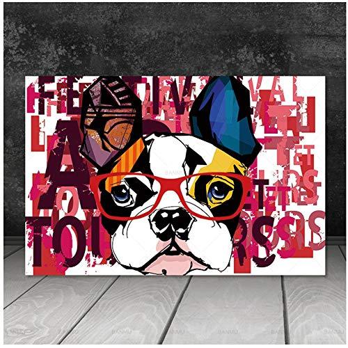 ZHANGSHAIFFBH canvas, abstract, dierenafbeelding, honden, fotobehang, canvas, kunstdruk op canvas, voor woonkamer / muur 40x50cm(15.7