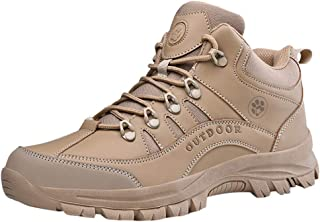 LUKALUKADA Men's Outdoor Non-Slip Sport Shoes Men's Lace-Up Desert Mountaineering Boots