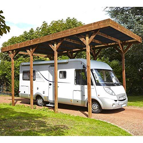 Carport Bois Camping-Car, Couverture en Polycarbonate - 404 x 802 x H.381 cm - 32,40m²