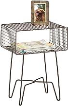 mDesign Modern Farmhouse Side/End Table - Metal Grid Design - Open Storage Shelf Basket, Hairpin Legs - Sturdy Vintage, Ru...