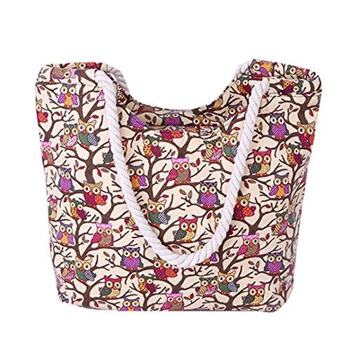 AiSi Canvas Strandtasche Schultertasche Umhängetasche Shopper Einkaufstasche, mit Reißverschluss, Eule Muster beige