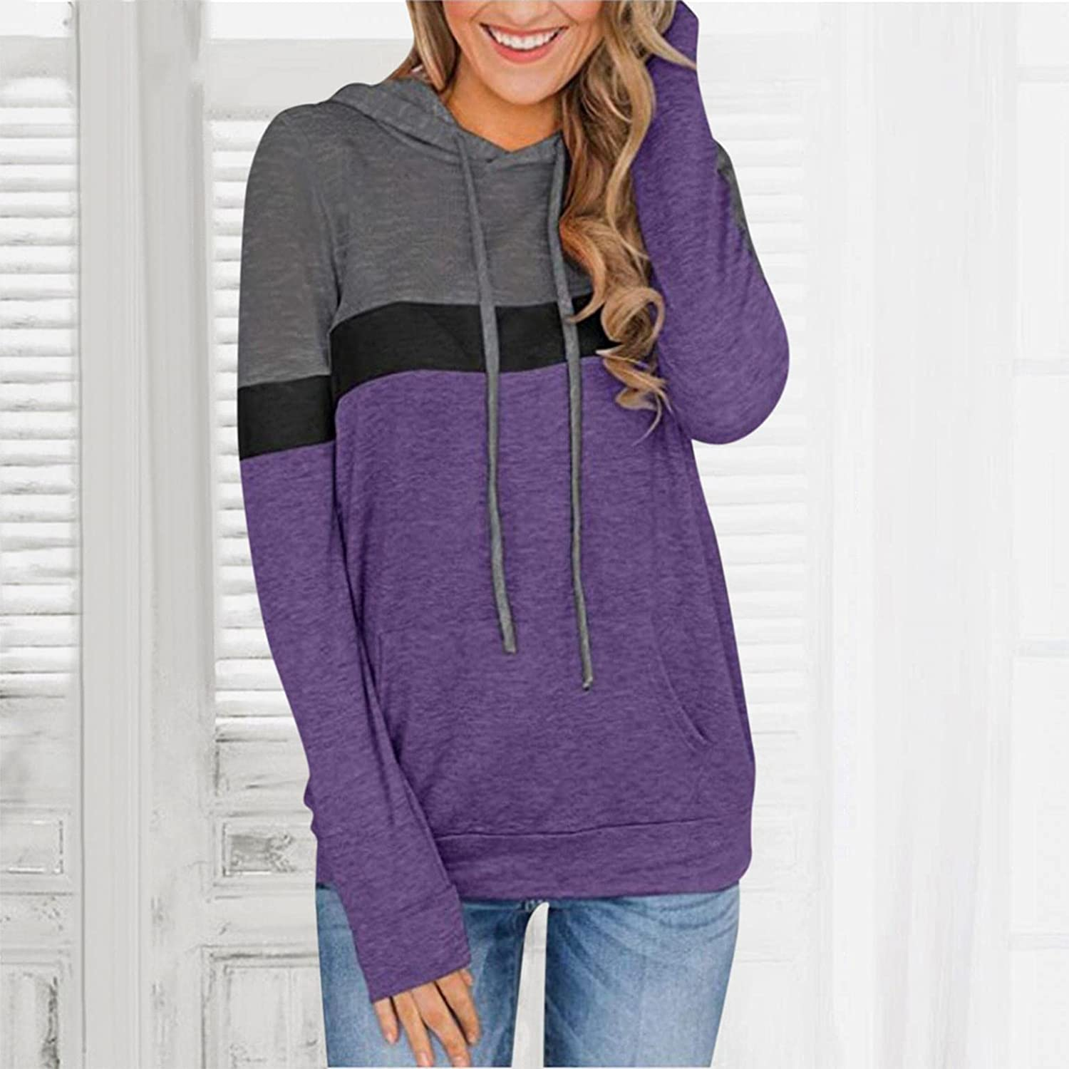 Haheyrte Hoodies for Womens Long Sleeve Patchwork Print Long-sleeved Hooded Casual Sweatshirts Pullover Tops Sweaters Blouse