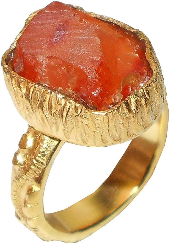 Bhagat Jewels 18K Yellow Gold Vermeil Raw Carnelian Brass Fashion Statement Ring for Her