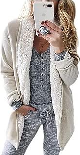 Womens Winter Coat Sherpa Lined Outwear Long Sleeve Open Front Coat
