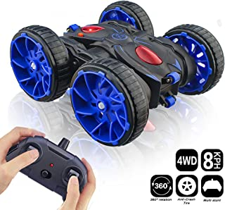 RC Cars, Remote Control Car Toy Vehicle 4WD 2.4Ghz 8 Mph Racing Stunt Car Double Sided 360°Rotation & Flips, Kids Toy Car for Boys & Girls Birthday Christmas - Blue Color