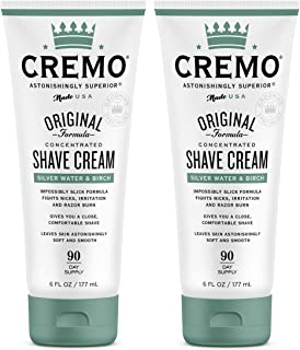Cremo Silver Water & Birch Shave Cream, Astonishingly Superior Smooth Shaving Cream Fights Nicks, Cuts and Razor Burn, 6 Fluid Ounces, 2-Pack