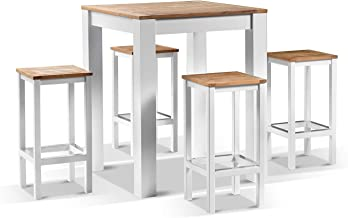 Balmoral 4 Seater Square Teak Top Aluminium Bar Setting - White Aluminium, White Aluminium - Outdoor Teak Dining Settings,...