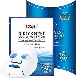 SNP - Bird's Nest Aqua Ampoule Moisturizing Korean Face Sheet Mask - Maximum Hydration & Protection for All Dry Skin Types using Hyaluronic Acid - 11 Sheets
