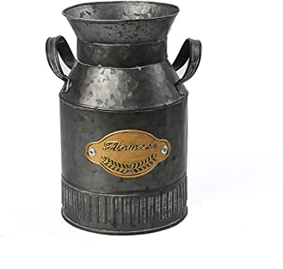 Metal Decorative Milk Can Canister Pitcher Vase Farmers Market with Handle.